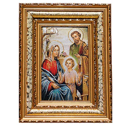 The Holy Family Nativity of Jesus 16x12.5 Framed Tapestry Wall Decor Unique Art Bible Gold and Silver Thread Embroidery Shiny Stunning Gift Religious Spiritual Art Bedroom Living Room Catholic - Nativity Needlepoint