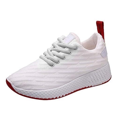 Tefamore Zapatillas Deportivas de Mujer Respirable Zapatillas de Running Fitness Sneakers 4cm Negro Rosado Blanco 35-39: Amazon.es: Zapatos y complementos
