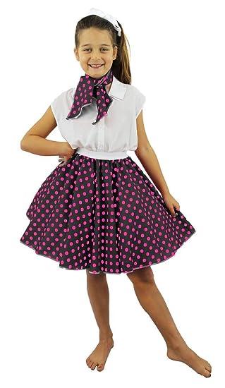I LOVE FANCY DRESS LTD Falda Corta Negra con Puntos Rosa Lunares Y ...