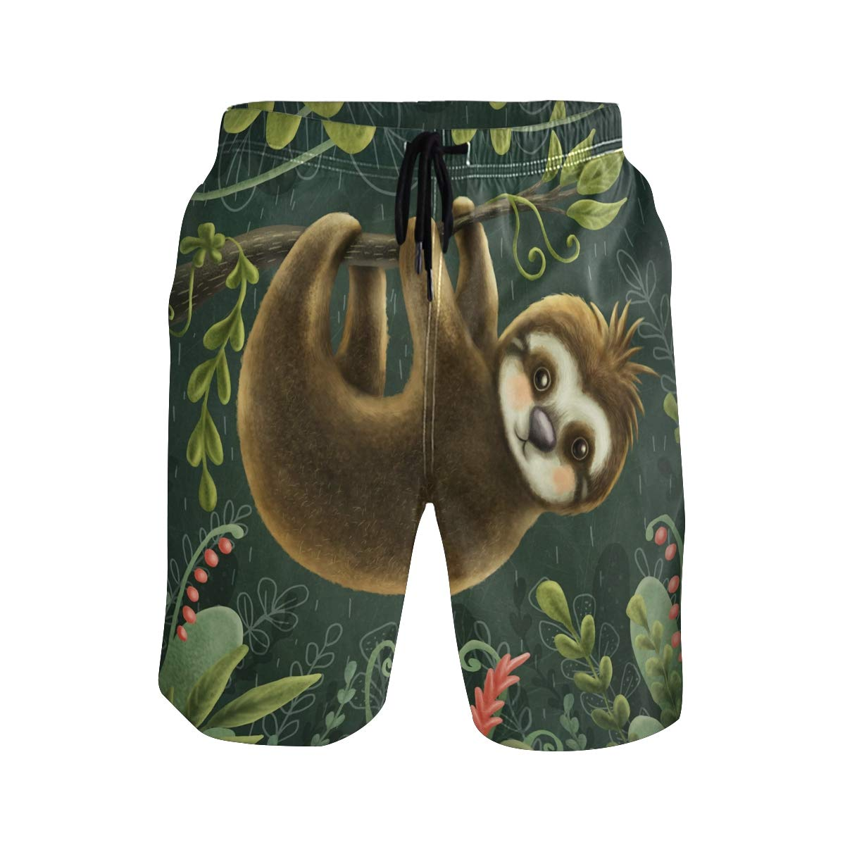 KUWT Mens Swim Trunks Tropical Plant Sloth Quick Dry Beach Shorts Summer Surf Board Shorts