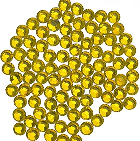 1000 Pieces Hot Fix Glass Flatback Rhinestones HotFix Round Crystal Gems Mine Gold, SS20