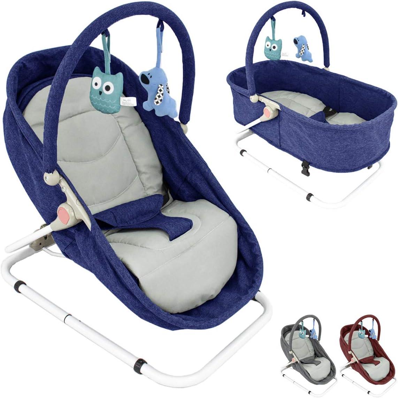 Hamaca de bebé 2-en-1 (función de cuna) reclinable en 4 posiciones, con arco de juegos (Varios colores disponibles) (Azul)