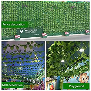 FightingFly Greenery Garland, 12 Strands 84ft Artificial Greenery Vines Fake Ivy Leaves Garland Hanging for Home Kitchen Garden Office Wedding Wall Decor, Grape Leaves 6