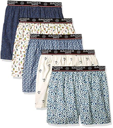 - Badger Smith Men's 5 - Pack Cotton Print Multicolor Boxer Shorts XL Multi