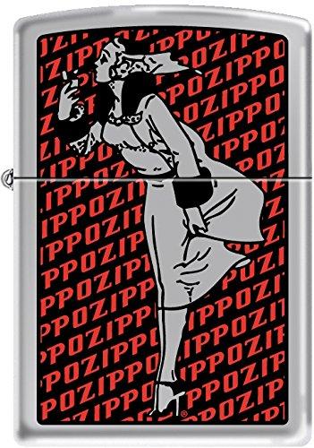 Zippo Windy Girl with Zippo Background Satin Chrome Windproof Lighter NEW -