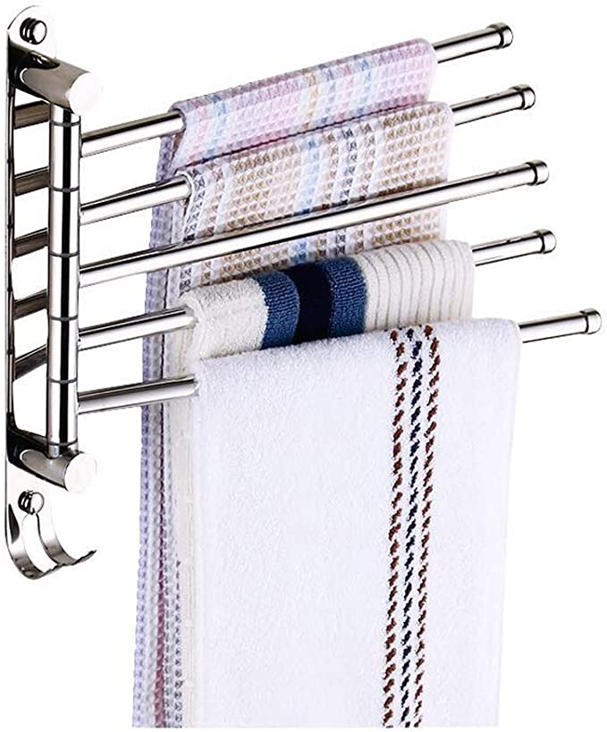 JSF Schwenkbarer Handtuchhalter Bad Handtuchstangen Schwenkbaren Wandmontage Drehung Handtuchstange mit 180 Grad 5 Beweglich Armen für Badezimmer