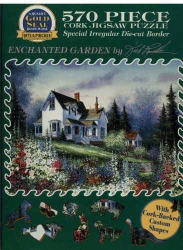 Bits & Pieces Gold Seal, Special Irregular Die-Cut Border 570 Piece Cork Jigsaw Puzzle - Enchanted Garden by Kirk Randle ()