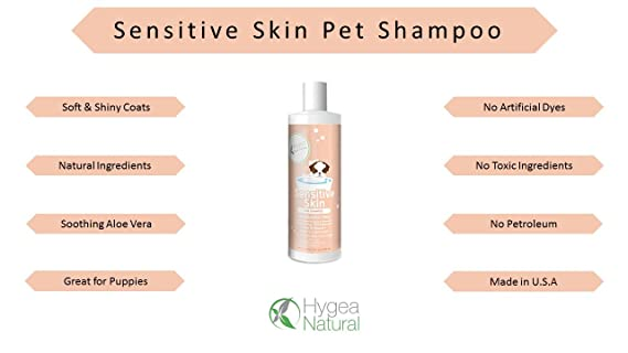 Hygea Natural Pet Shampoo for Dogs with Sensitive Skin with Organic  Ingredients 16oz