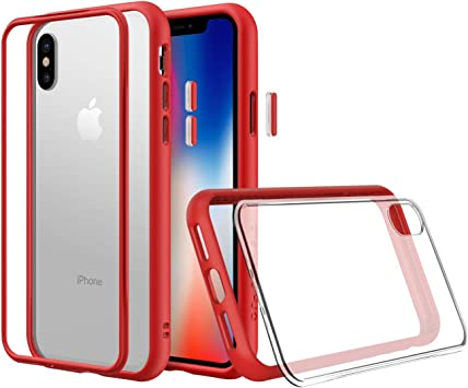 RhinoShield Modular Case Compatible with [iPhone Xs] | Mod NX - Customizable Shock Absorbent Heavy Duty Protective Cover - Shockproof Red Bumper with ...