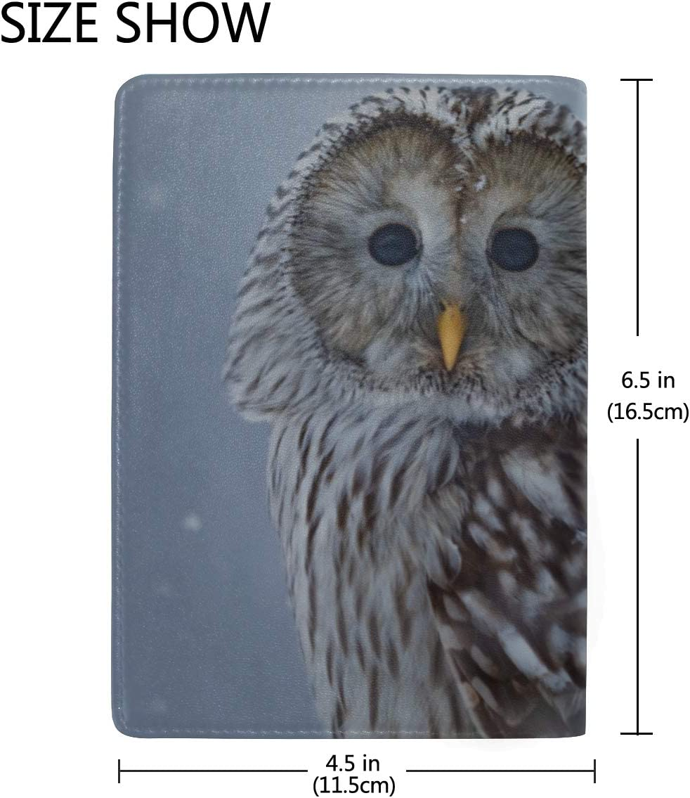 Cute Funny Owl Standing On The Tree Blocking Print Passport Holder Cover Case Travel Luggage Passport Wallet Card Holder Made With Leather For Men Women Kids Family