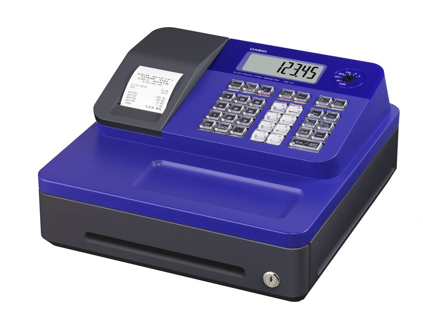 Casio SE-G1SC-BU SG-1 Series Stylish Thermal Printing Cash Register with Blue Cabinet