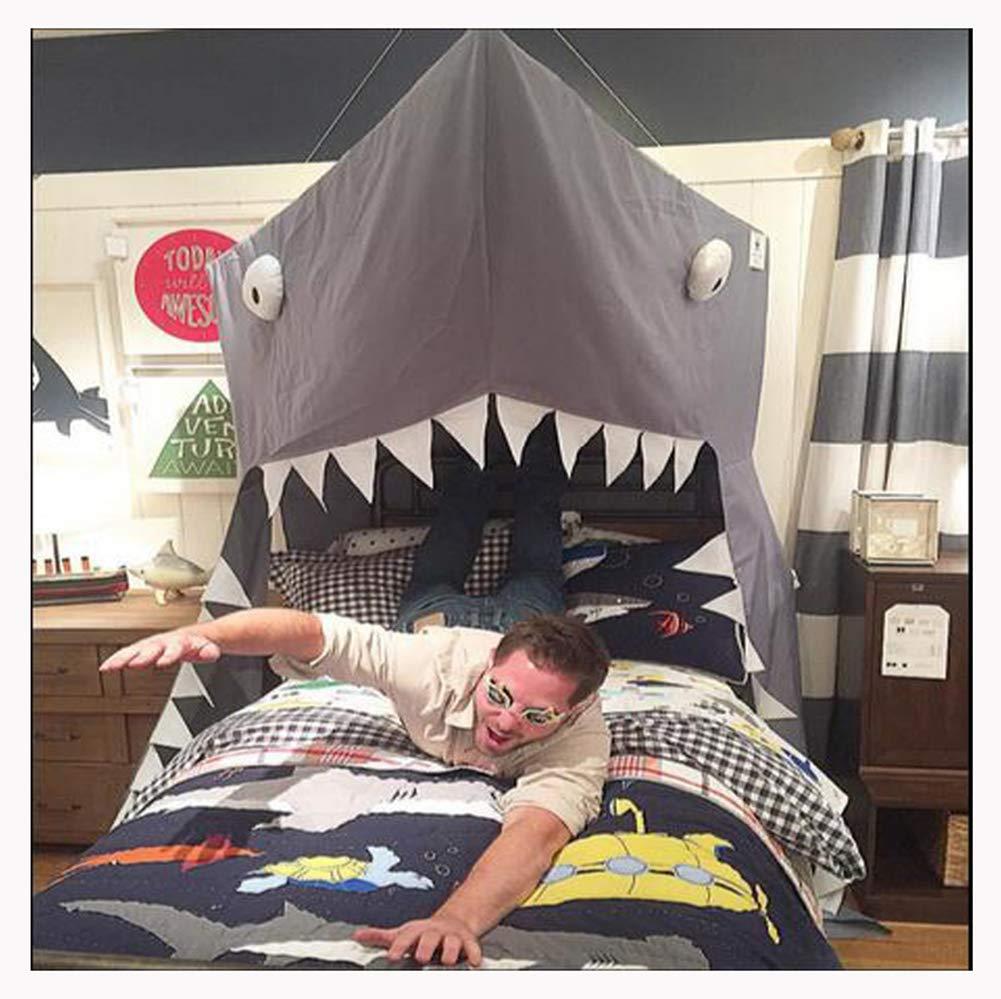 WXH 子供部屋装飾 子供用テント オープン プリンセスキャノピー ベッドバランス ベッドカーテン ベビーベッド ラウンド蚊帳 テント グレーシャークカーテン   B07RD9X3LR