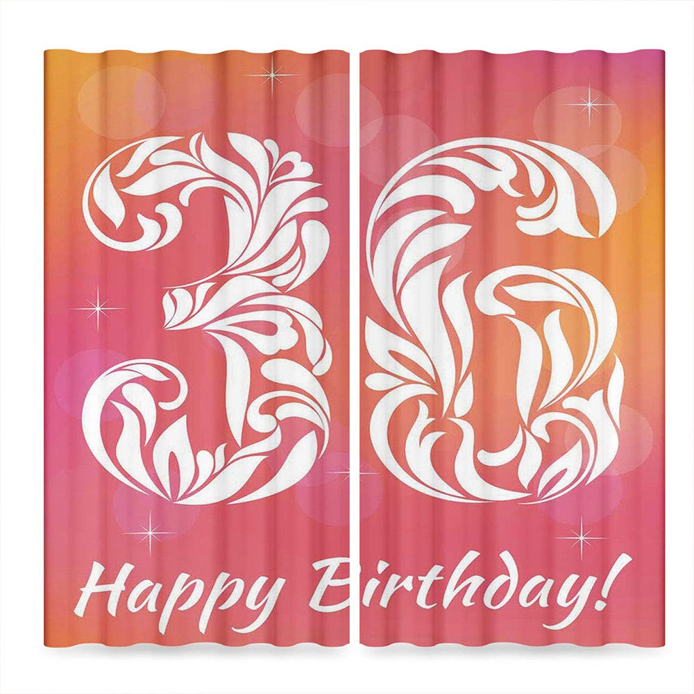 C COABALLA 36th Birthday Decorations Blackout Curtains,Ombre Vivid Colored Thirty Six in Floral Design Image,Living Room Bedroom Décor, 2 Panel Set, 28W X 39L Inches