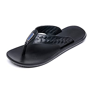 f95072588fd LLPSH Men s Thong Flip Flops Shoes Casual Genuine Leather Beach Slippers Non -Slip Soft Flat