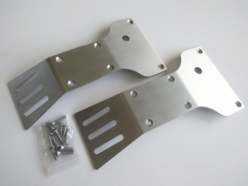 Stainless Steel Front & Rear Skid Plate Chassis Protect Armor (2pcs) For RC Car CEN 1/7 Reeper CrazyRacer