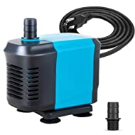 KEDSUM 550GPH Submersible Pump(2500L/H,40W), Ultra Quiet Water Pump with 5ft High Lift, Fountain Pump with 6.5ft Power Cord, 3 Nozzles for Fish Tank, Pond, Aquarium, Statuary, Hydroponics