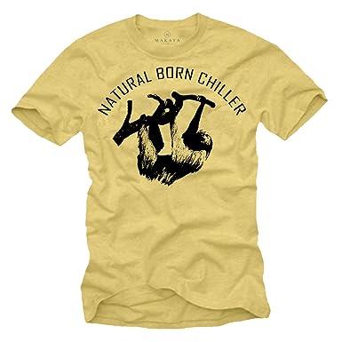b76aadff6ac666 Coole Fun T-Shirts für Herren NATURAL BORN CHILLER T-Shirt vintage gelb Größe  S-XXL  Amazon.de  Bekleidung
