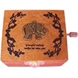Balai Wooden Music Box With An Elephant On Top Hand Wind Up Mechanism Music Box