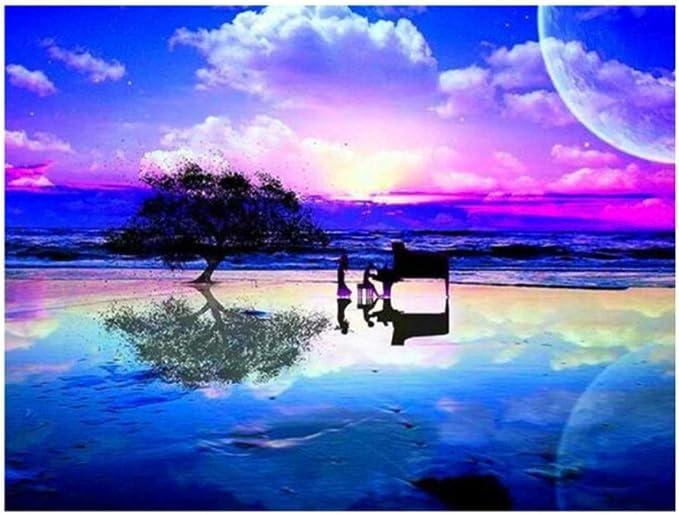 Nuevo 5D DIY Pintura Diamante azul nube mar árbol Bordado Diamante ...