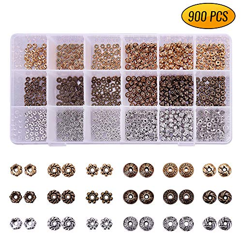 Antique Tibetan Metal Spacer Beads 900 PCS 6 Style 3 Color Gold Silver Bronze Jewelry Findings Accessories for Bracelet Necklace Jewelry Making