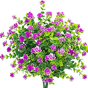 YISNUO Artificial Flowers, Fake Outdoor UV Resistant Plants Faux Plastic Greenery Shrubs Indoor Outside Hanging Planter Home Kitchen Office Wedding, Garden Decor 12