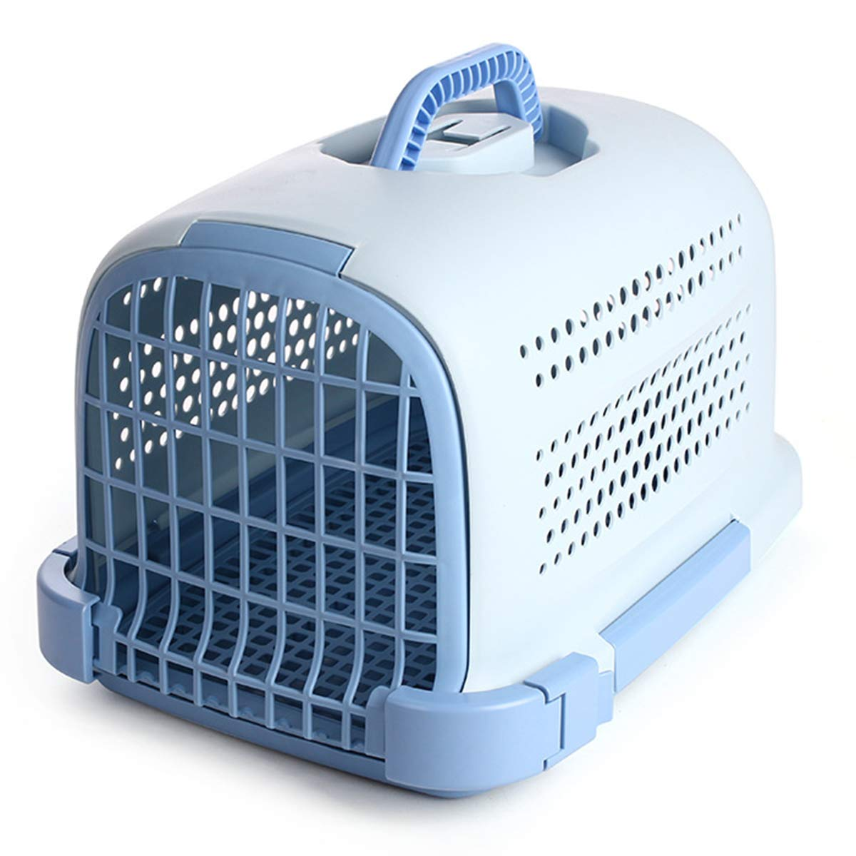 bluee 483429cmHWX Premium Plastic Pet Carrier, Kitten Cat Dog Animal Portable Transport Travel Box Cage,brown,48  34  29cm