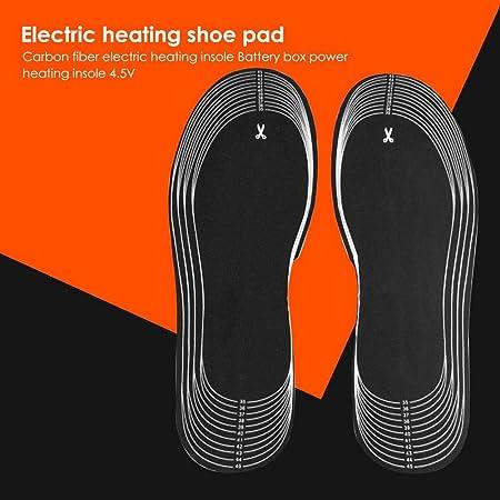 Slibrat Almohadillas para Zapatos Calentados 1 Par 4.5V Batería Calentador De Calzado con Pie Eléctrico Calentador De Botas Plantillas De Fibra De Carbono con Caja De Batería (Suela Completa): Amazon.es: Hogar