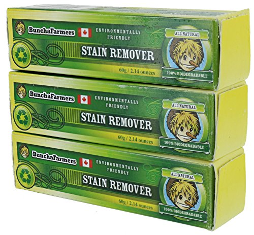 BunchaFarmers All Natural 100% Biodegradable Environmentally Friendly Stain Remover Stick Made in Canada (3 Pack)