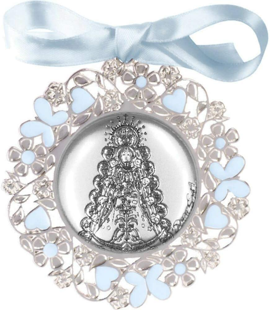 Medalla de Cuna Bilaminada en Plata Virgen Rocio esmalte rosa 09605-7R
