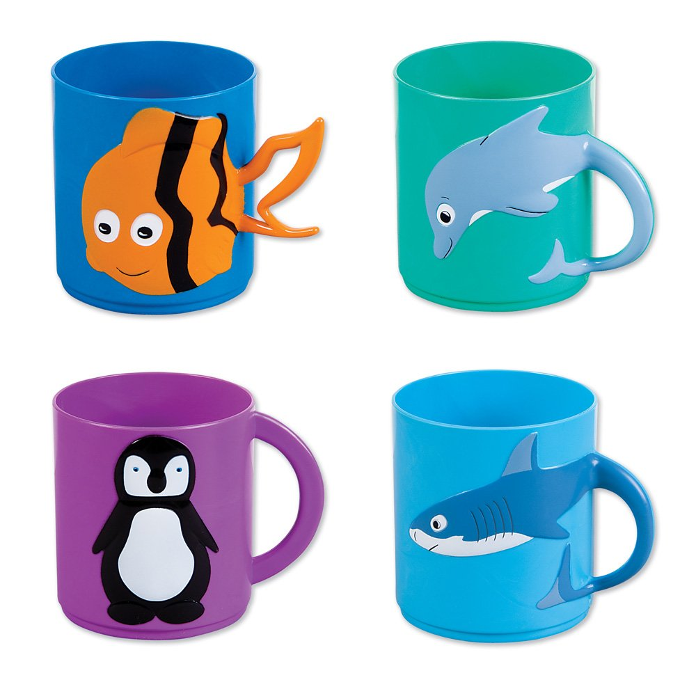 Assorted Sea Life Animal Molded Plastic Mugs (12) 3''. Plastic. In Retail Display Box. by RINCO
