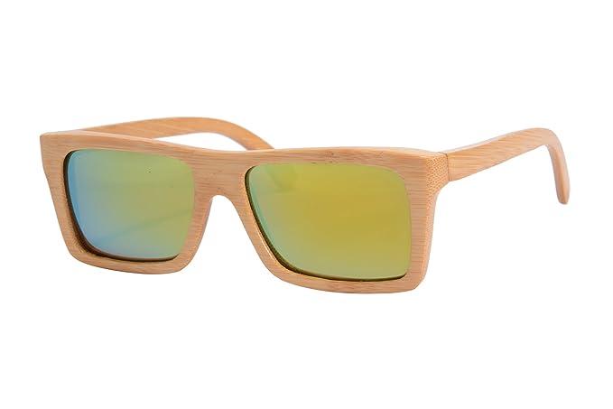 SHINU Polarisierten Sonnenbrillen Handarbeit aus Holz Brillen Bambus Brille-Z68020(brown-black, gradient brown)