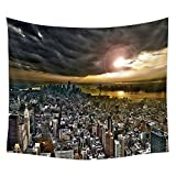 Wall Hanging Tapestry city new york sky clouds skyscrapers buildings Dorm Decor Tapestry Bedspread Bed Cover 51 X 60 Inches