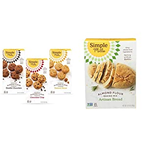 Simple Mills, Cookies Variety Pack, Chocolate Chip, Double Chocolate Chip, Toasted Pecan Variety Pack, 3 Count (Packaging May Vary) & Almond Flour Baking Mix, Gluten Free Artisan Bread Mix