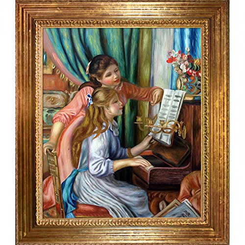 overstockArt Young Girls at The Piano Framed Oil Reproduction of an Original Painting by Pierre Auguste Renoir, Vienna Wood Frame, Gold Leaf (Renoir Young Girl)