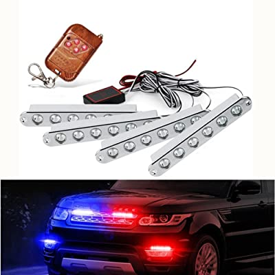 "Dealpeak 4x6 LED 12V 5.2"" Car Emergency Lights Vehicle Strobe Lights Truck Under Glow Grill Hood SUV Bulb Strips: Automotive"