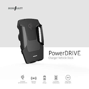 miniBatt PowerDRIVE - Cargador inalámbrico Qi para el Coche (10 W) Color Negro