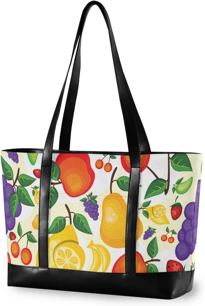 Summer Fruit Mango Lemon Canvas Shoulder Tote Bag Fit 15.6 Inch Computerr Ladies Briefcase for Work School Travel Large Woman Laptop Tote Bag