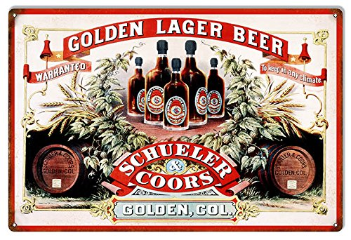 Victory Vintage Signs Aged Looking Schueler and Coors Golden Colorado Beer Sign 12X18
