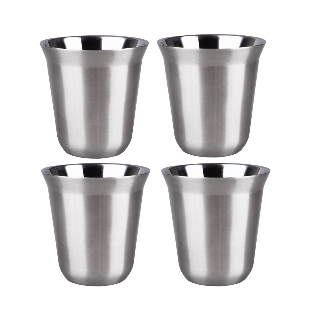 IMEEA Espresso Cups Shooters Double Wall 18/10 Stainless Steel, 5.8oz/170ml (4 Pcs)