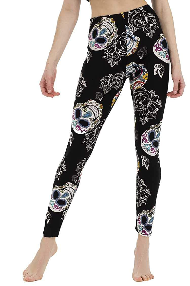Halloween Leggings for Women Black Sugar Skull Patterned High-Waisted O/S and Plus