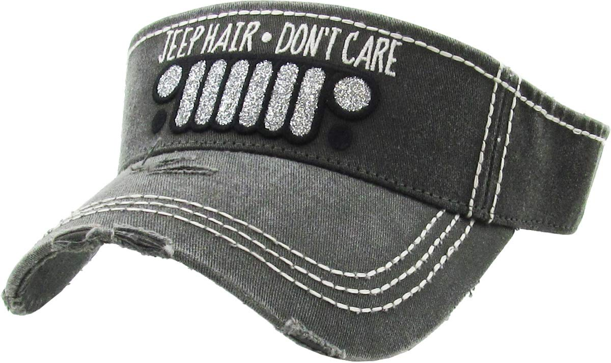 H-201-JHDC06 Ponytail Visor Patch Hat - Jeep Hair Don't Care, Black