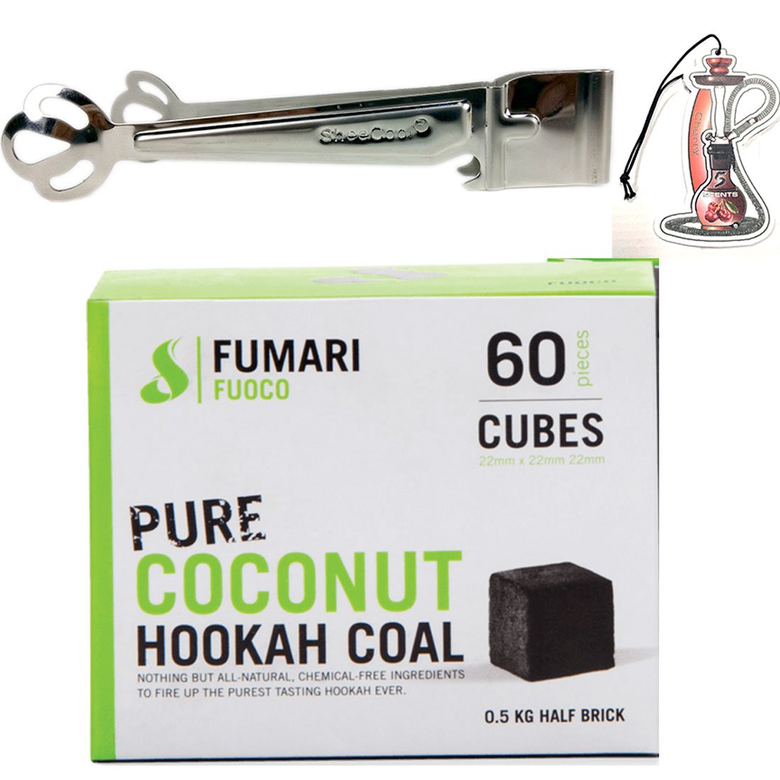 FUOCO 60 Medium CUBE COCONUT HOOKAH COAL BY FUMARI Shisha Natural Charcoal With Bonus Sheecool HangingTongs