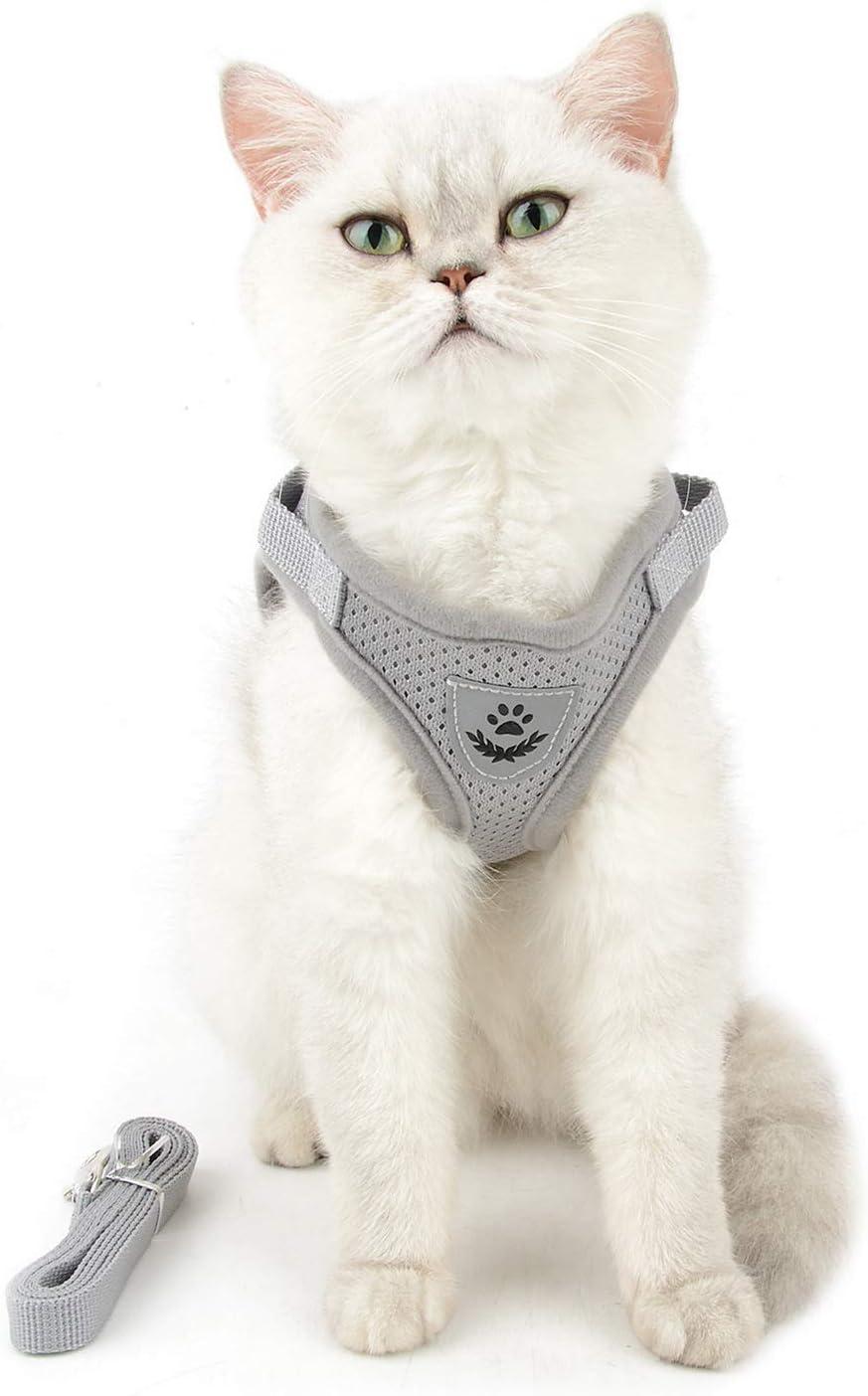 Zunea emp/êche de tirer en maille souple rembourr/ée r/églable Harnais et laisse anti-fuite pour chat et chien r/éfl/échissant