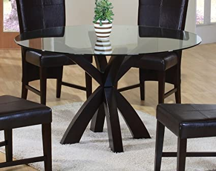 round glass dining table Amazon.  Dining Table with Round Glass Top in Rich Cappuccino  round glass dining table
