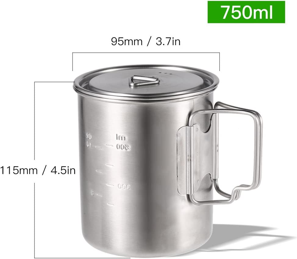 Ultralight Titanium/&Stainless Steel Designed for Outdoor Camping Hiking Backpacking Lixada Camping Cup Pot with Foldable Handles and Lid