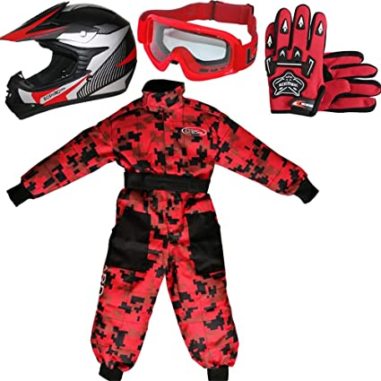 + Traje de Motocross para Ni/ños Guantes + Gafas XXL XL 8cm 12-13 A/ños XL 55cm Leopard LEO-X15 Rojo Casco de Motocross para Ni/ños