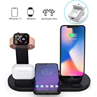 BOBOLONG Wireless Charger, 3 in 1 Wireless Charging Station for Apple Watch, AirPods,10W Qi Fast Wireless Charging Stand Dock for iPhone 11/11 Pro Max/X/XS/XR/Xs Max/8/8 Plus(with QC 3.0 Adapter)