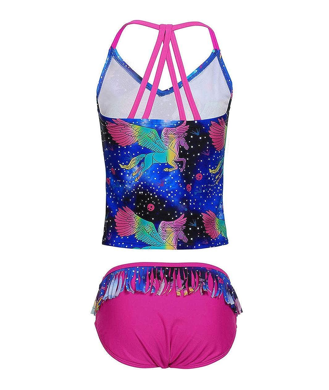 BELLOO Girls Cross Straps Two Piece Tankini Swimsuit