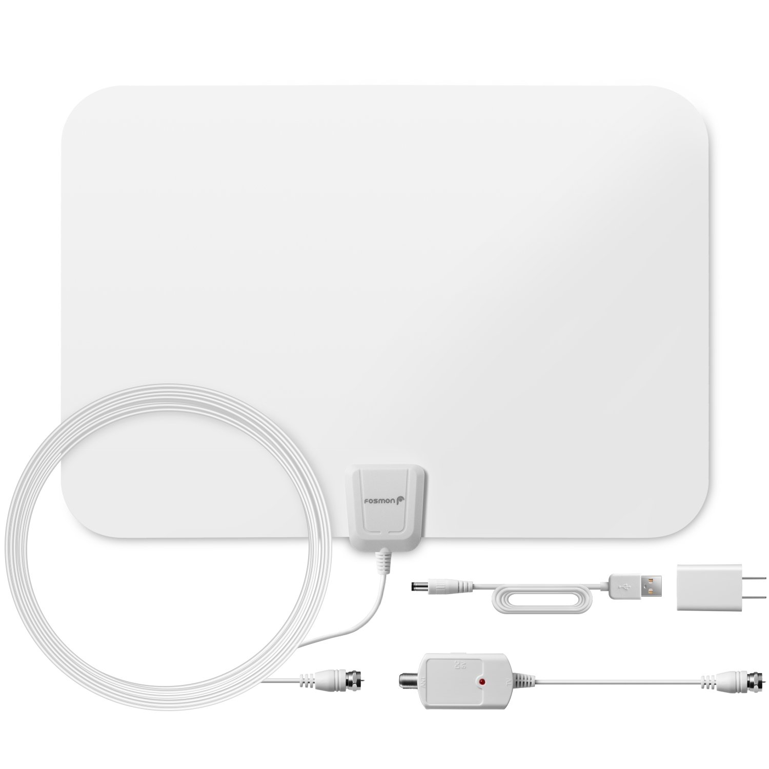50 Miles HDTV Antenna, Fosmon Indoor Ultra Thin HDTV Antenna with Built-in Amplifier Signal Booster and High Signal Capture of 16.4ft Coaxial Cable (White)