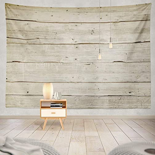 threetothree 60X80 Inches Tapestry Wall Hanging Interior Decorative Natural Wood Board Wall Panel Horizontal Shabby Wooden Color Vintage Surface for Bedroom Living Room Tablecloth Dorm